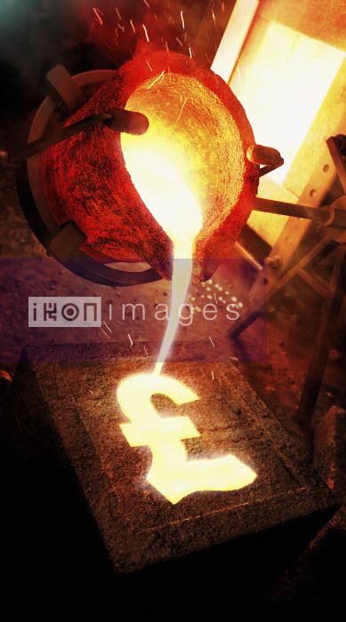 Molten metal pouring into pound sign mold - Molten metal pouring into pound sign mold - Ian Cuming