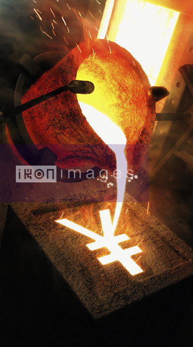 Molten metal pouring into yen sign mold - Molten metal pouring into yen sign mold - Ian Cuming