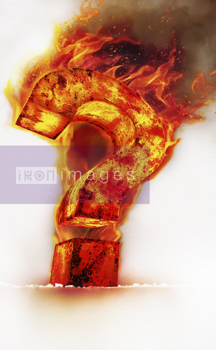 Red hot burning metal question mark - Red hot burning metal question mark - Ian Cuming