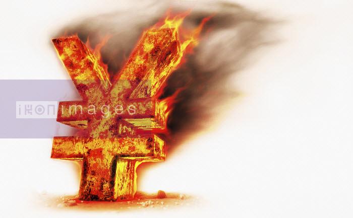 Red hot burning metal yen sign - Red hot burning metal yen sign - Ian Cuming