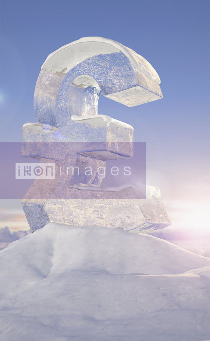 Frozen British pound sign on top of mountain peak in snowy landscape at sunrise - Frozen British pound sign on top of mountain peak in snowy landscape at sunrise - Ian Cuming