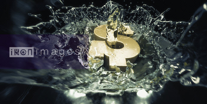 Gold dollar sign falling into water and splashing - Gold dollar sign falling into water and splashing - Ian Cuming