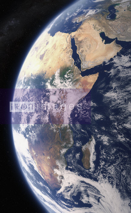 Digitally manipulated image of East Africa and the Middle East from space - Ian Cuming