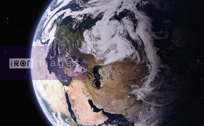 Digitally manipulated image from space of the Caspian Sea between Europe and Asia - Ian Cuming