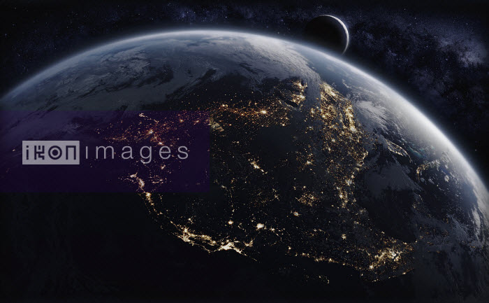 Digitally manipulated image of North America from space at night - Ian Cuming
