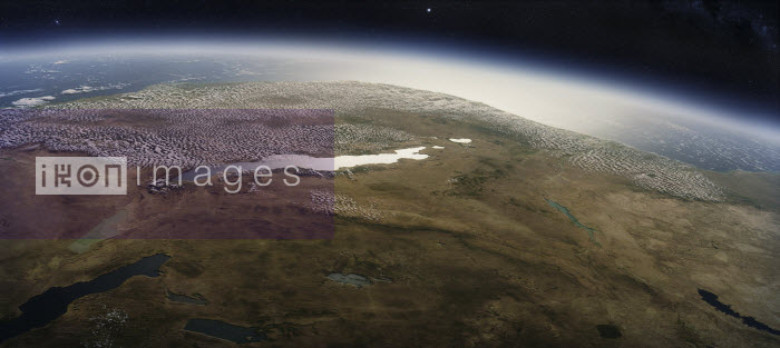 Digitally manipulated image of Lake Tanganyika from space - Ian Cuming