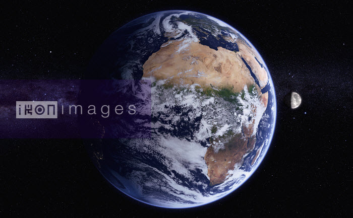 Digitally manipulated image of Africa and the Atlantic Ocean from space over the Equator - Ian Cuming
