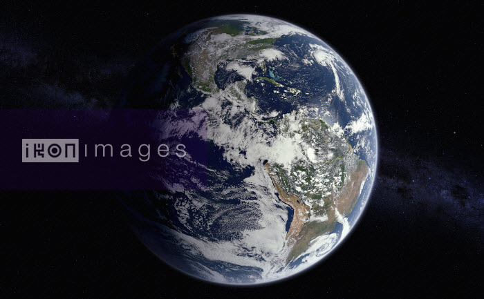 Digitally manipulated image of North and South America from space over the Equator - Ian Cuming