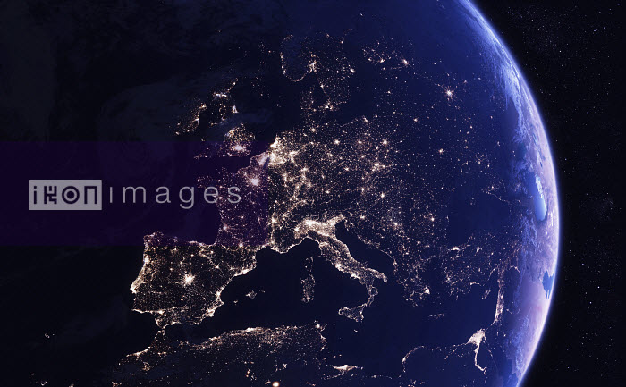Digitally manipulated image of Europe at night from space - Ian Cuming