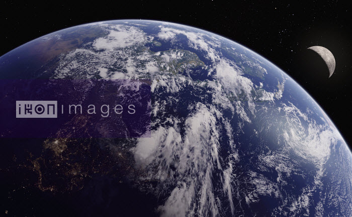 Digitally manipulated image of India, Southeast Asia and the Bay of Bengal from space - Ian Cuming