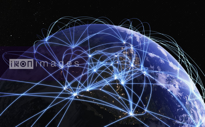 Global communications network over digitally manipulated image of North America from space - Ian Cuming