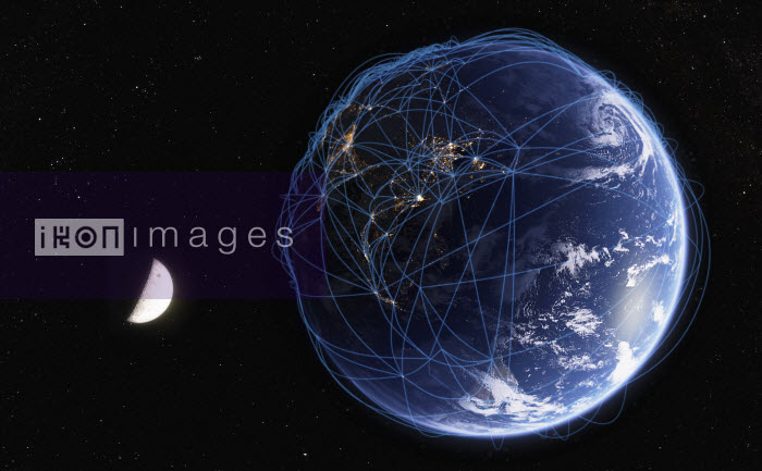 Global communications network over digitally manipulated image of India, China and Southeast Asia from space - Ian Cuming