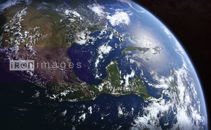 Earth from space showing the United States, Mexico, Central America and Cuba - Ian Cuming