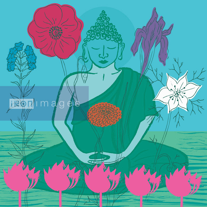 Buddha surrounded by flowers - Buddha surrounded by flowers - Trina Dalziel