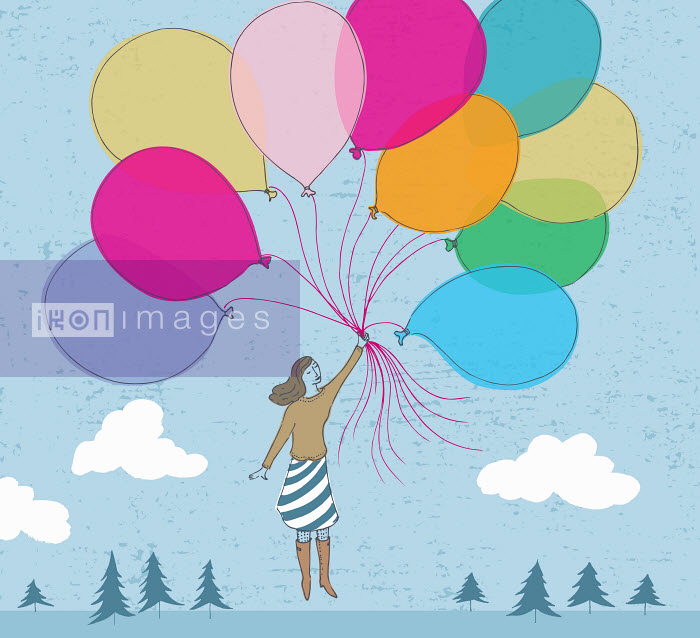 Floating woman holding bunch of multicolored balloons - Floating woman holding bunch of multicolored balloons - Trina Dalziel
