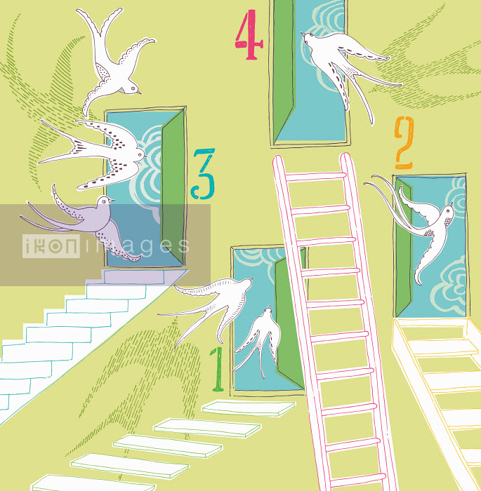 Open numbered doors with ladders, steps and stairs and flying birds - Open numbered doors with ladders, steps and stairs and flying birds - Trina Dalziel