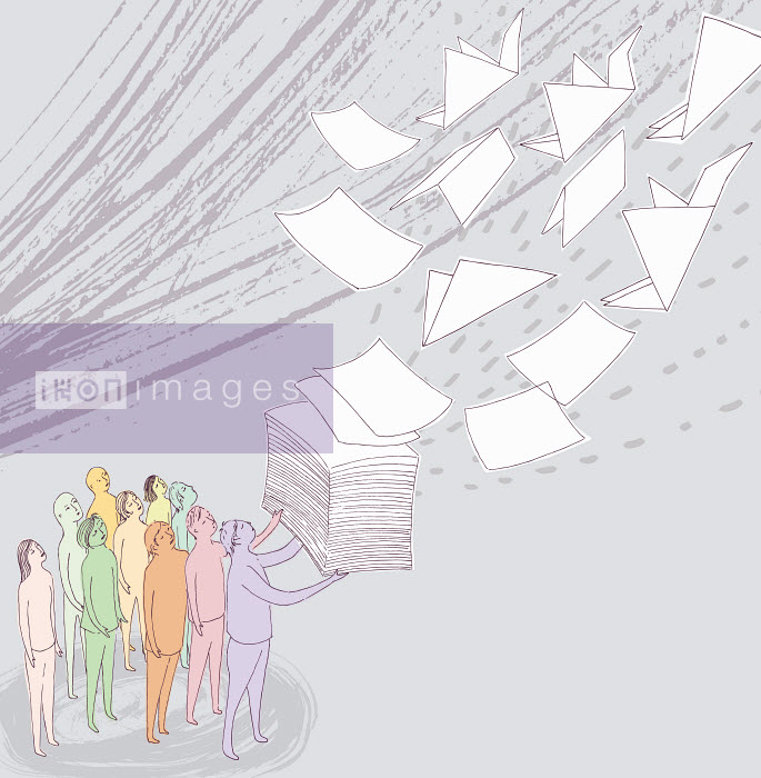Group of people watching stack of paper fly away and change into origami cranes - Group of people watching stack of paper fly away and change into origami cranes - Trina Dalziel