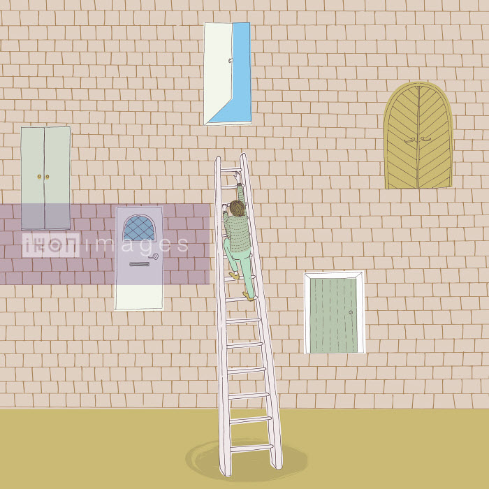 Man climbing ladder to open door high up in brick wall - Man climbing ladder to open door high up in brick wall - Trina Dalziel