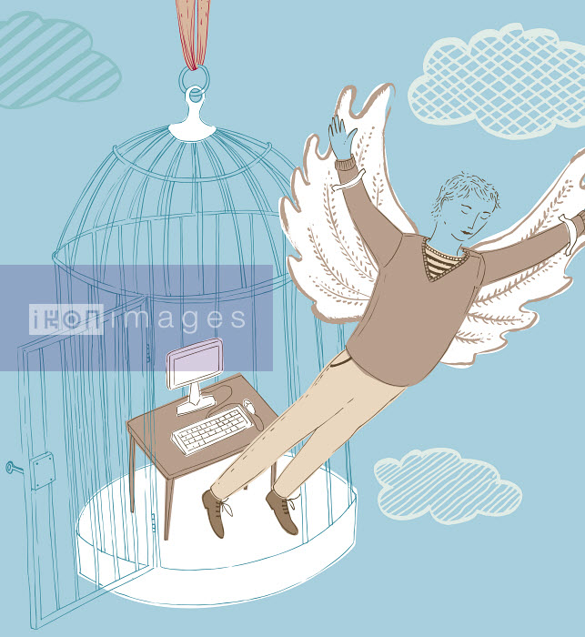 Businessman with wings escaping office inside of birdcage - Businessman with wings escaping office inside of birdcage - Trina Dalziel
