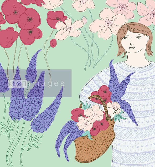 Woman in garden with basket of flowers - Woman in garden with basket of flowers - Trina Dalziel