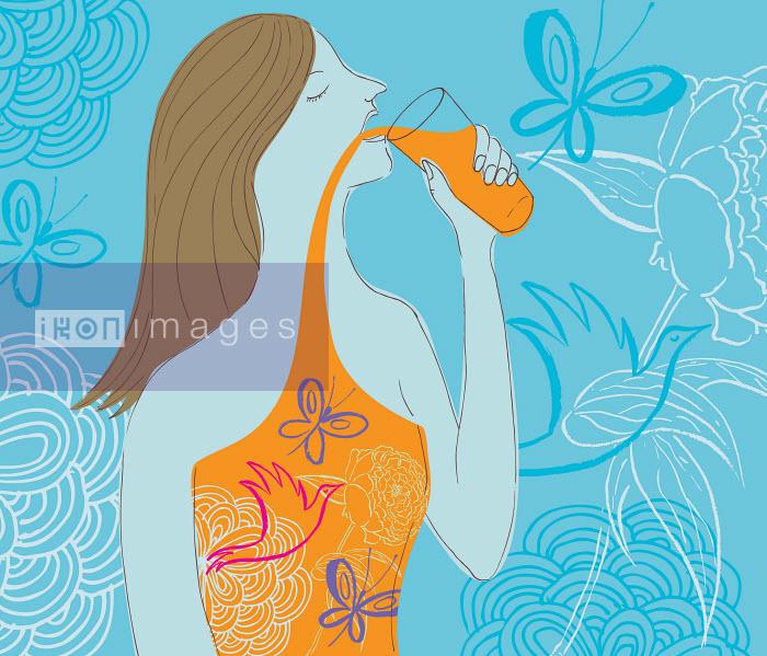 Woman drinking natural juice - Woman drinking natural juice - Trina Dalziel