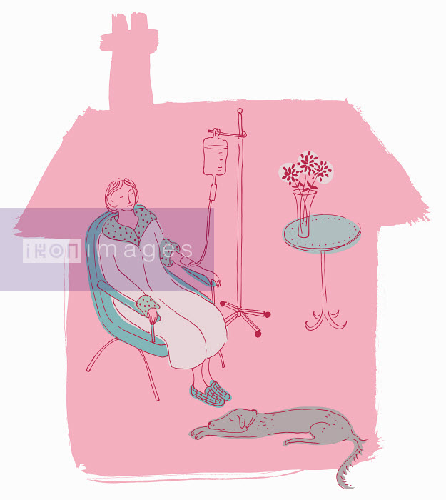 Woman patient attached to IV drip recovering at home - Woman patient attached to IV drip recovering at home - Trina Dalziel
