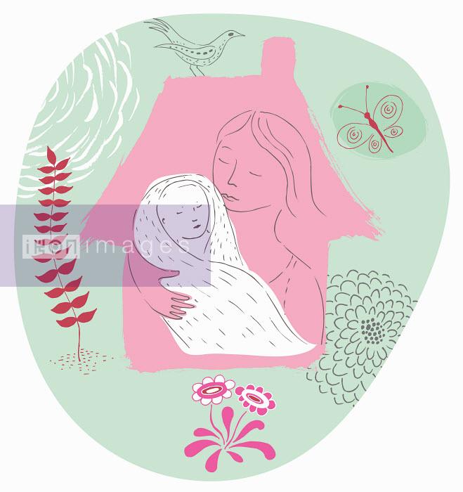 Mother holding swaddled newborn baby inside home - Mother holding swaddled newborn baby inside home - Trina Dalziel