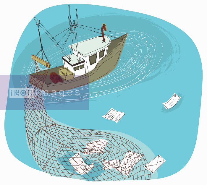 Trawler boat with net phishing and gathering information - Trawler boat with net phishing and gathering information - Trina Dalziel