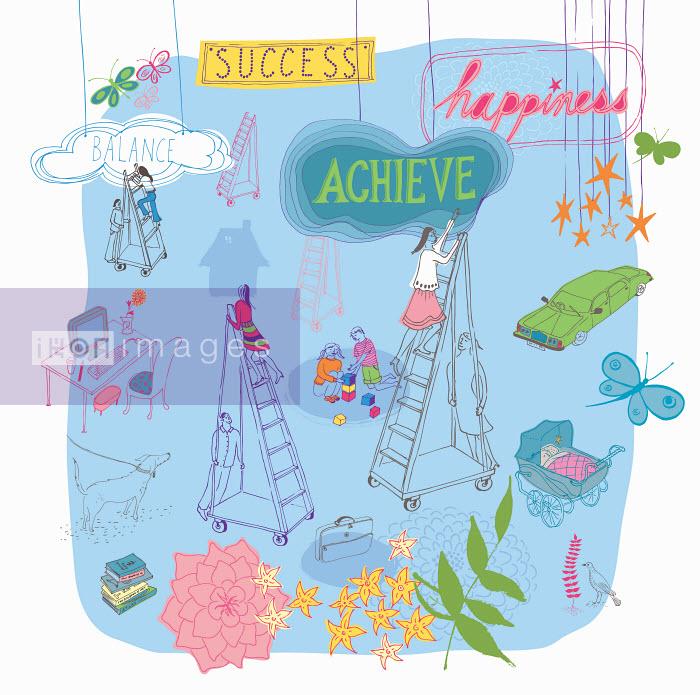 Multitasking women climbing ladders to future success balancing family and work life - Multitasking women climbing ladders to future success balancing family and work life - Trina Dalziel