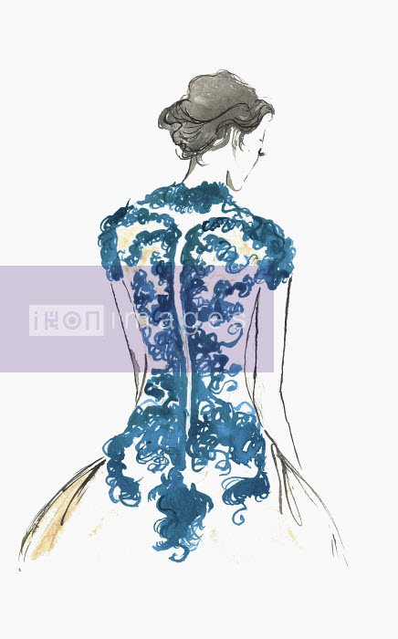 Rear view of elegant woman wearing lace evening gown - Rear view of elegant woman wearing lace evening gown - Jessica Durrant