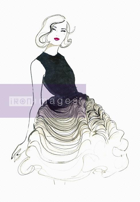 Happy elegant woman wearing ruffled evening gown - Happy elegant woman wearing ruffled evening gown - Jessica Durrant