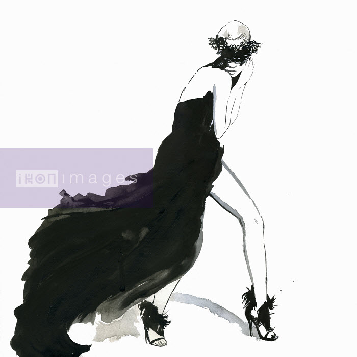 Seductive woman posing wearing flowing black evening gown and mask - Seductive woman posing wearing flowing black evening gown and mask - Jessica Durrant