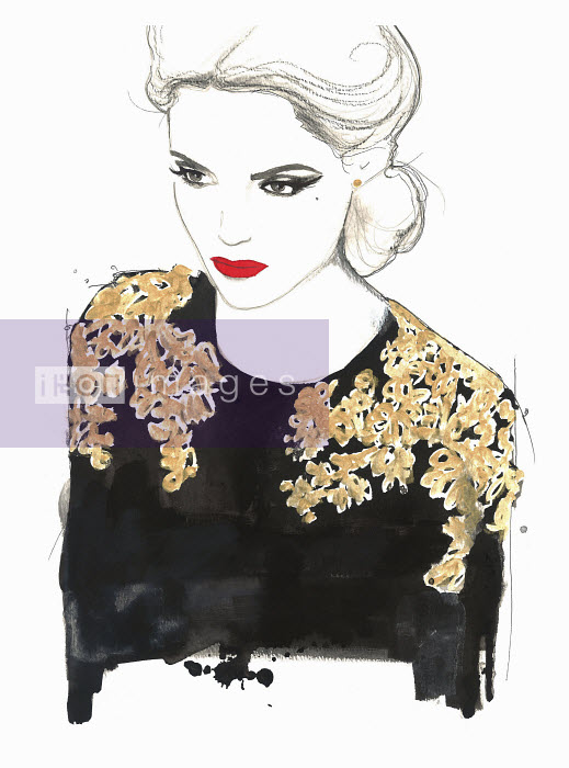 Glamorous woman wearing ornate black and gold blouse - Glamorous woman wearing ornate black and gold blouse - Jessica Durrant