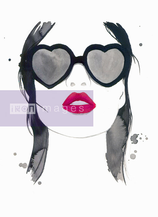 Beautiful woman with red lipstick wearing heart shaped sunglasses - Beautiful woman with red lipstick wearing heart shaped sunglasses - Jessica Durrant