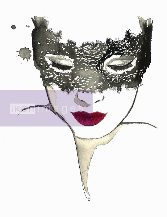 Beautiful woman wearing masquerade mask - Beautiful woman wearing masquerade mask - Jessica Durrant
