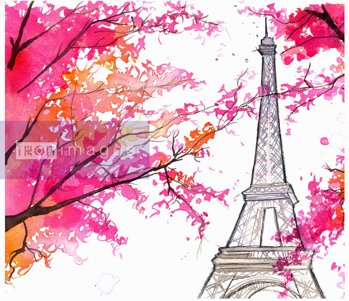 Bright autumn leaves in front of Eiffel Tower, Paris - Bright autumn leaves in front of Eiffel Tower, Paris - Jessica Durrant