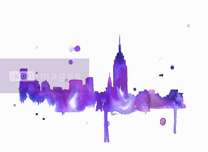 Splattered watercolor of New York City skyline - Splattered watercolor of New York City skyline - Jessica Durrant