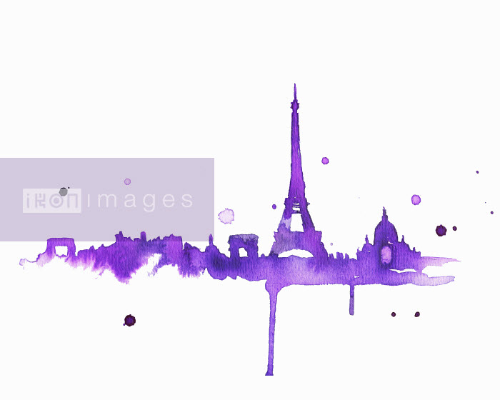 Splattered watercolor of Paris skyline - Splattered watercolor of Paris skyline - Jessica Durrant