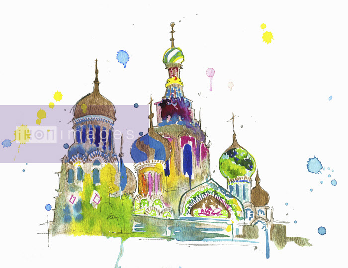 Watercolor painting of Saint Basil's Cathedral, Moscow, Russia - Watercolor painting of Saint Basil's Cathedral, Moscow, Russia - Jessica Durrant
