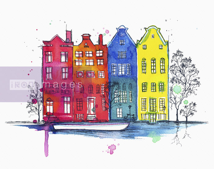 Row of houses on canal in Amsterdam, the Netherlands - Row of houses on canal in Amsterdam, the Netherlands - Jessica Durrant