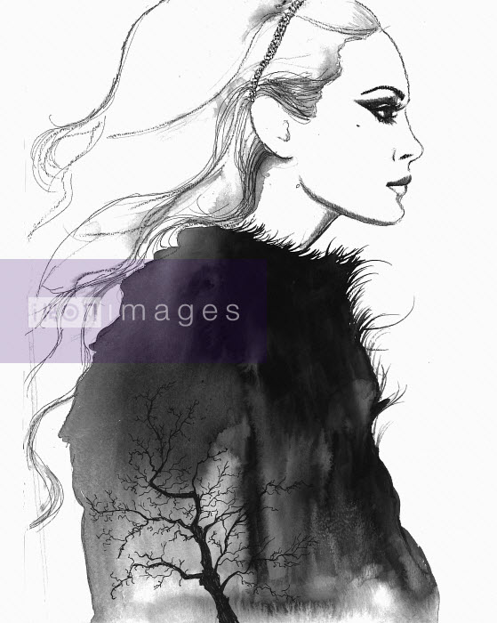 Woman wearing fluffy jumper with bare tree silhouette - Woman wearing fluffy jumper with bare tree silhouette - Jessica Durrant