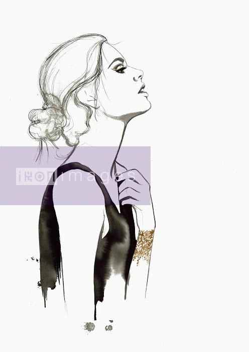 Fashion illustration of woman adjusting dress strap - Fashion illustration of woman adjusting dress strap - Jessica Durrant