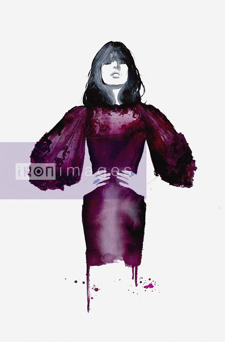 Fashion illustration of model wearing maroon wide sleeved evening dress - Jessica Durrant