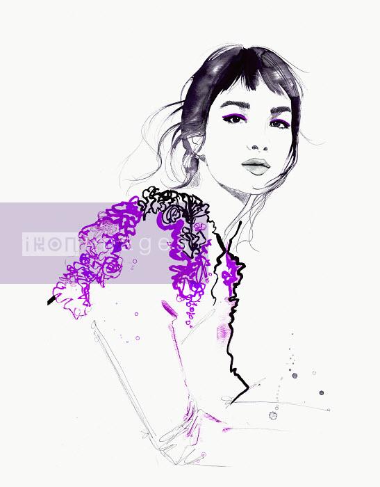 Fashion illustration of beautiful woman looking at camera wearing ruffled top - Jessica Durrant