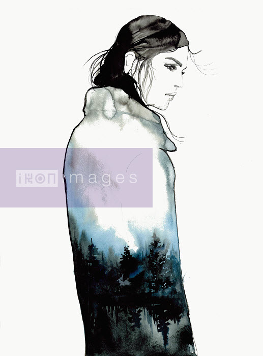 Sad young woman wearing coat with tree pattern - Jessica Durrant