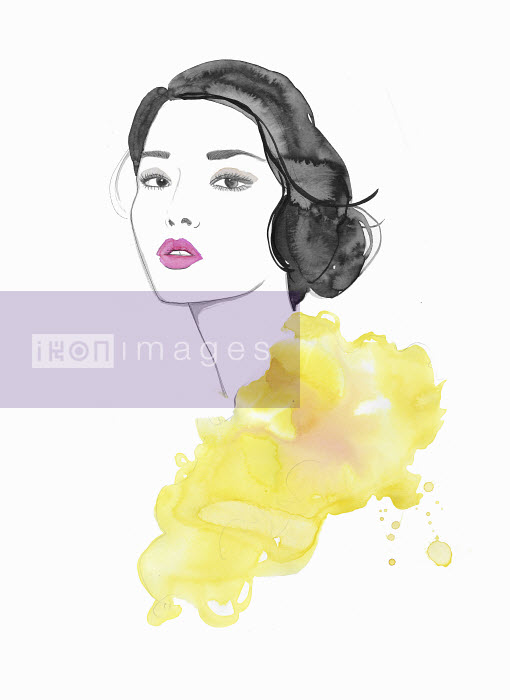 Watercolor illustration of fashion model looking at camera - Jessica Durrant