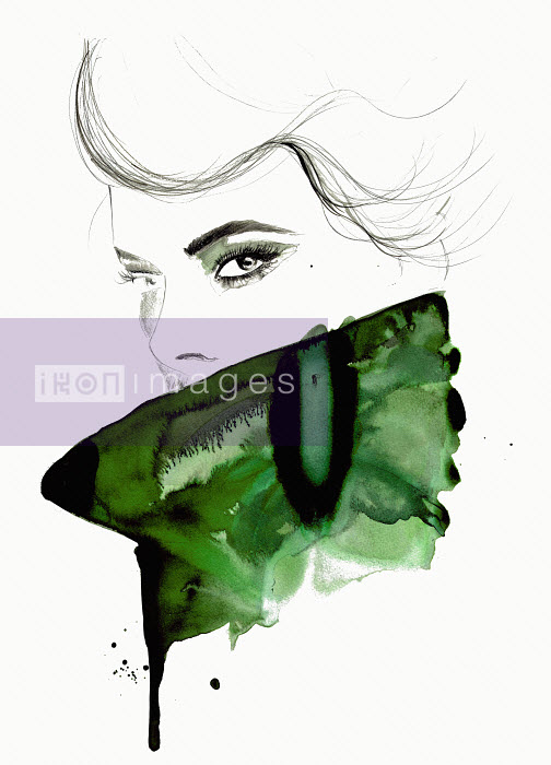 Watercolor illustration of fashion model looking at camera over high collar - Jessica Durrant