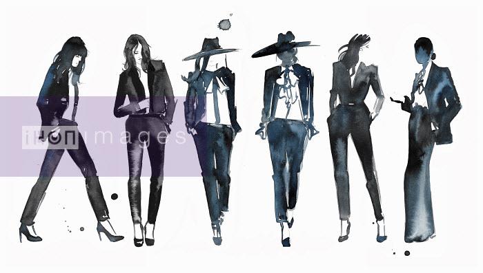 Watercolour fashion illustration of models on catwalk - Jessica Durrant