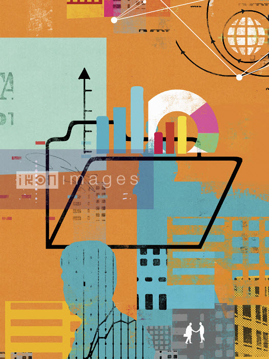 Businessmen, globe, financial data and folder - Businessmen, globe, financial data and folder - Stuart Kinlough
