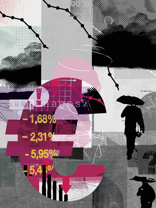 Euro sign with declining financial data and gloomy overcast sky - Euro sign with declining financial data and gloomy overcast sky - Stuart Kinlough